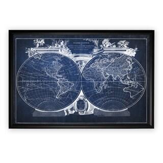 Vintage Wold Map VIII Blue - Black Frame