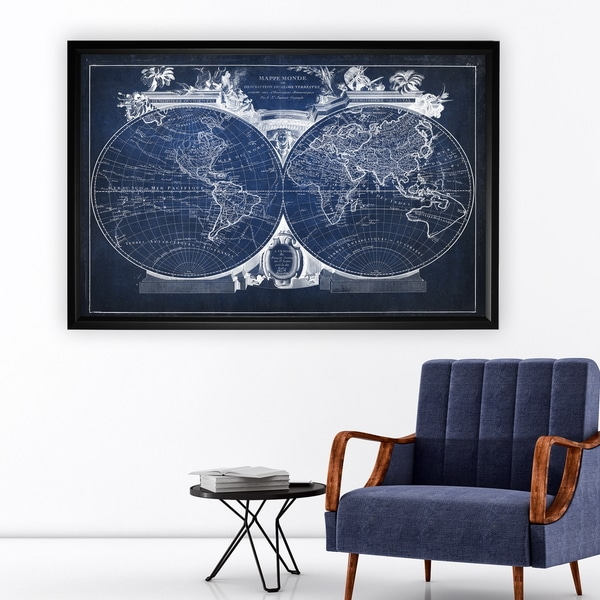 Vintage Wold Map VIII Blue - Black Frame