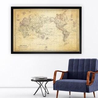 Vintage Wold Map VI Antique - Black Frame