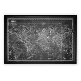 Vintage Wold Map V Grey - Black Frame