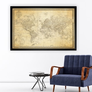Vintage Wold Map v Parchment - Black Frame