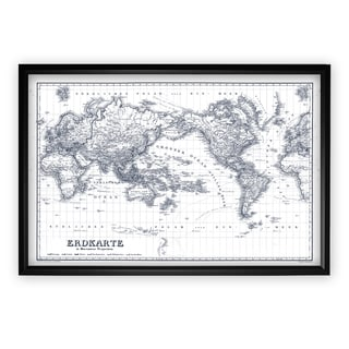 Vintage Wold Map IV Blue Outline - Black Frame