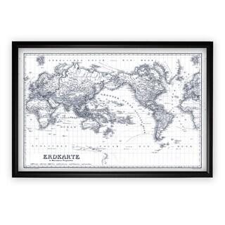 Vintage Wold Map IV Blue Outline - Black Frame