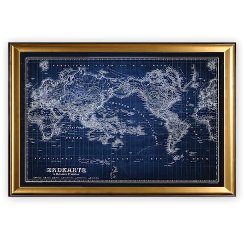 Vintage Wold Map IV Blue - Gold Frame