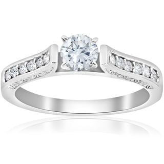 14K White Gold 1/2 ct TDW Diamond Round Cut Engagement Ring
