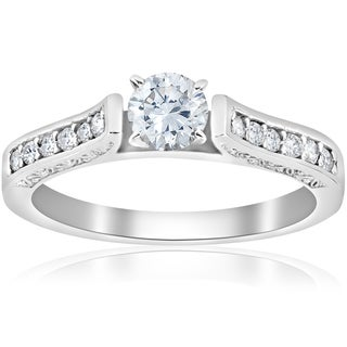 14K White Gold 1/2 ct TDW Diamond Vintage Antique Round Cut Engagement Ring (I-J,I2-I3)