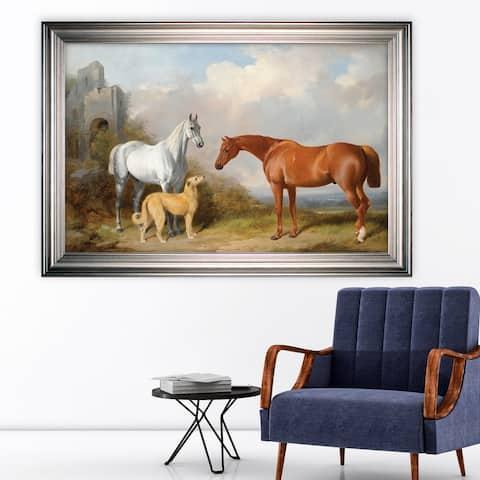Vintage Horse Pastoral -Silver Frame