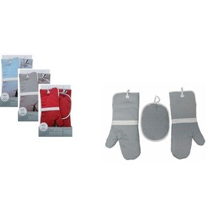 3 Piece Kitchen Mitten Set with Silicone