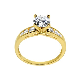 14k Yellow Gold 1 3/8ct TGW Round-cut Cubic Zirconia Engagement Ring