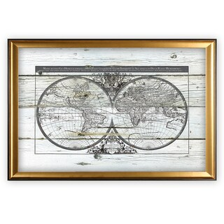 World Map Hemispheres - Gold Frame