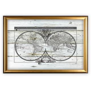 World Map Hemispheres - Gold Frame