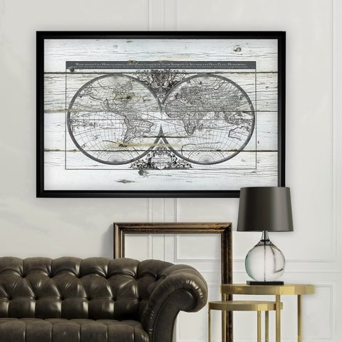 World Map Hemispheres - Black Frame