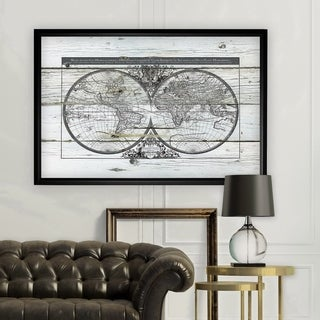 World Map Hemispheres - Black Frame