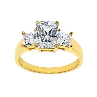 14k Yellow Gold 2ct TGW Emerald-cut 3-stone Cubic Zirconia Engagement Ring