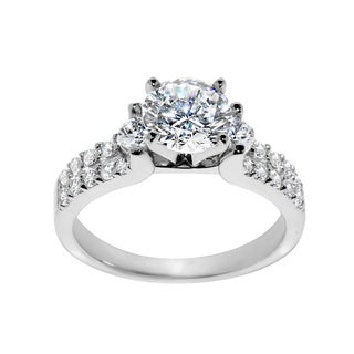 14k White Gold 1 3/4ct TGW Round-cut Cubic Zirconia Engagement Ring
