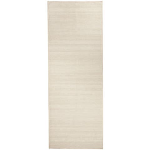 """RUGGABLE Washable Stain Resistant Runner Rug Solid Textured Cream - 2'6"""" x 7'"""