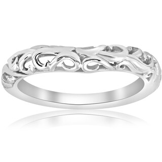14K White Gold Curved Vintage Womens Filigree Antique Filigree Ring Scroll Band