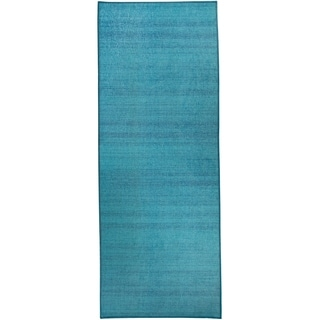 RUGGABLE Washable Indoor/Outdoor Stain Resistant Runner Rug Solid Textured Ocean Blue (2'6 x 7')