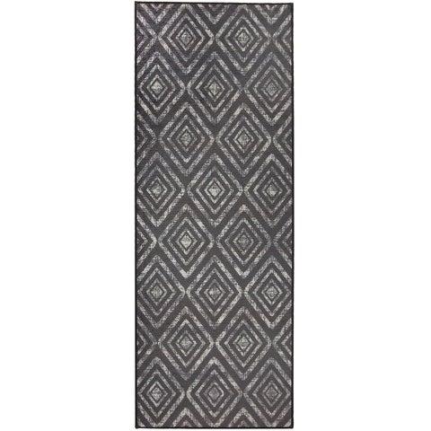 """RUGGABLE Washable Indoor/Outdoor Stain Resistant Runner Rug Prism Black (2.5' x 7') - 2'6"""" x 7'"""