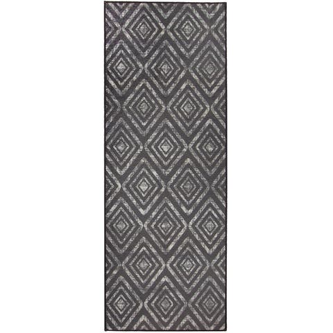 RUGGABLE Washable Stain Resistant Runner Rug Prism Dark Grey - 2'6 x 7'
