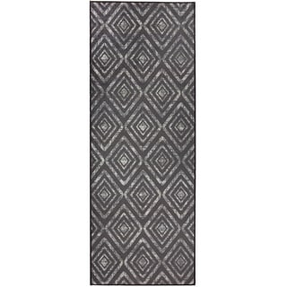 "RUGGABLE Washable Indoor/Outdoor Stain Resistant Runner Rug Prism Black (2'6"" x 7')"