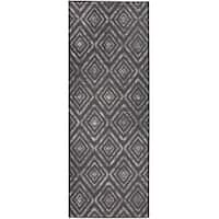 "RUGGABLE Washable Indoor/Outdoor Stain Resistant Runner Rug Prism Black (2.5' x 7') - 2'6"" x 7'"