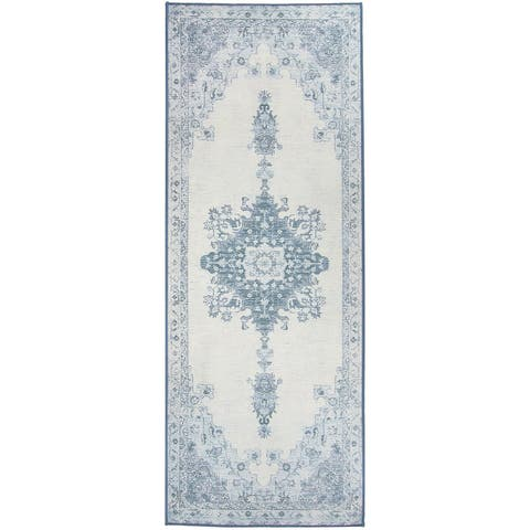 "RUGGABLE Washable Stain Resistant Runner Rug Parisa Blue - 2'6"" x 7'"