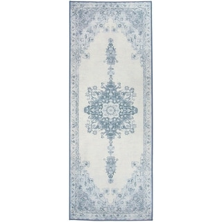 "RUGGABLE Washable Indoor/ Outdoor Stain Resistant Runner Rug Parisa Blue (2'6 x 7') - 2'6"" x 7'"