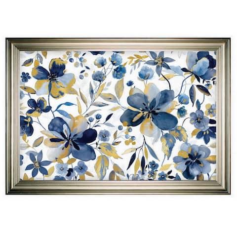 Golden Indigo Garden -Silver Frame