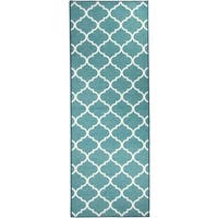"RUGGABLE Washable Indoor/Outdoor Stain Resistant Runner Rug Moroccan Trellis Teal (2.5' x 7') - 2'6"" x 7'"