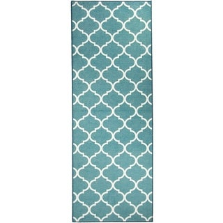 "RUGGABLE Washable Stain Resistant Runner Rug Moroccan Trellis Teal - 2'6"" x 7'"