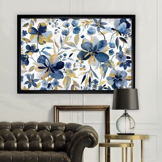 Golden Indigo Garden - Black Frame