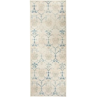 "RUGGABLE Washable Indoor/Outdoor Stain Resistant Runner Rug Leyla Creme Vintage (2.5' x 7') - 2'6"" x 7'"