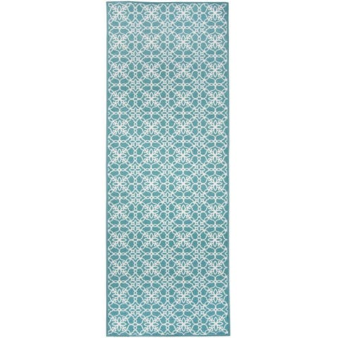 "RUGGABLE Washable Stain Resistant Runner Rug Floral Tiles Aqua Blue & White - 2'6"" x 7'"