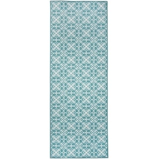 "RUGGABLE Washable Indoor/Outdoor Stain Resistant Runner Rug Floral Tiles Aqua Blue & White (2.5' x 7') - 2'6"" x 7'"