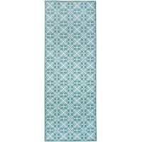 "RUGGABLE Washable Stain Resistant Runner Rug Floral Tiles Aqua Blue & White - 2'6"" x 7'"