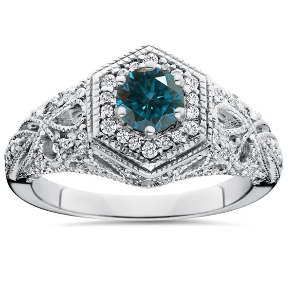 14K White Gold 3/4 ct TDW Blue & White Diamond Vintage Halo Antique Filigree Engagement Ring (I-J,I2-I3)