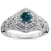 14K White Gold 3/4 ct TDW Blue & White Diamond Vintage Halo Antique Filigree Engagement Ring (I-J,I2-I3)