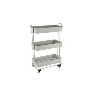 Metal Rolling Storage Cart With Three Shelves, White