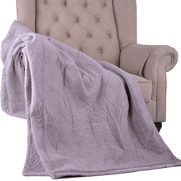 BOON Lorreay Embroidery Reversible Sherpa Throw