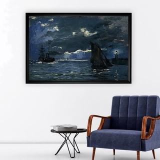 Seascape, Night Effect - Black Frame