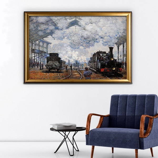 Saint-Lazare Station, Exterior - Gold Frame - Free Shipping Today ...