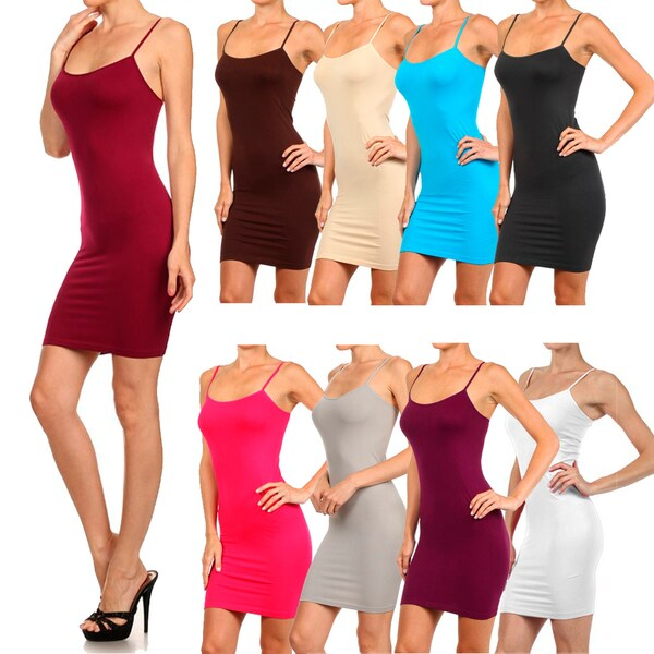 Lady's Solid Seamless Long Cami Top Color:Fuchsia