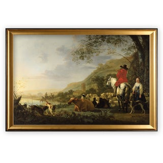 Hilly-Landscape -by Aelbert Cuyp - Gold Frame