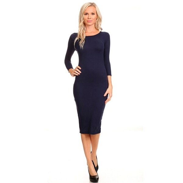 Crew Neck 3/4 Sleeve Midi Bodycon Dress