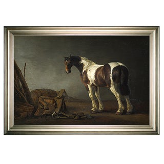 A Horse with a Saddle Beside it -Silver Frame