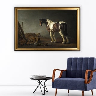 A Horse with a Saddle Beside it - Gold Frame