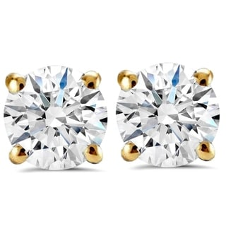 14K Yellow Gold 2 ct TDW Round Brilliant Cut Diamond Clarity Enhanced Studs (H-I,I1-I2)
