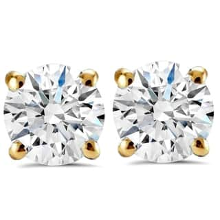 14K Yellow Gold 2 ct TDW Round Brilliant Cut Diamond Clarity Enhanced Studs (H-I,I1-I2)|https://ak1.ostkcdn.com/images/products/15367982/P21828520.jpg?impolicy=medium