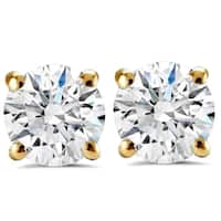 14K Yellow Gold 2 ct TDW Round Brilliant Cut Diamond Clarity Enhanced Studs (H-I,I1-I2) - White